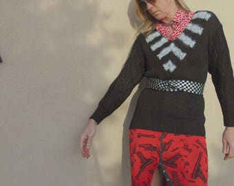 Vintage 1980s Nannell Lightweight Linen/Rayon/Angora Stripe Cable Knit Sweater
