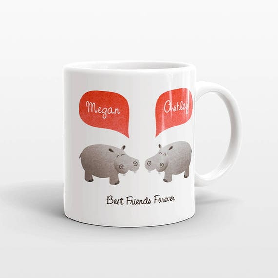 Best Friend Gift, Hippo Mug, Personalized Best Friend Mug, Animal Best Friend Coffee Mug, Unique Friendship Gift Best Friend Birthday Gift