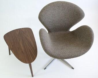 Mid-Century Modern Shield Side Table - Walnut