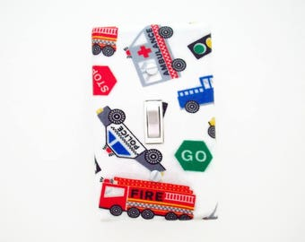 Emergency Vehicles Light Switch Cover - Firetruck Switch Plate Cover - Boys Police Car Bedroom - Cars Trucks Switch Plate - Street Signs