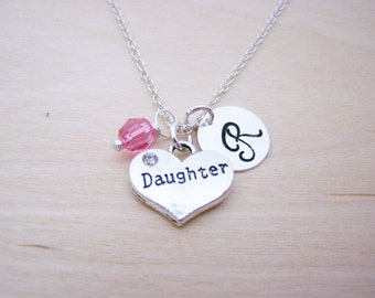 Daughter Charm Necklace -  Swarovski Birthstone Initial Personalized Sterling Silver Necklace / Gift for Her - Daughter Charm