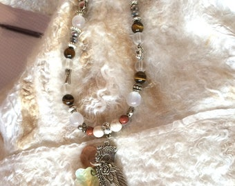 NECKLACE only * trendy copper gems pearls * with angel wing