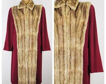 RESERVED Vintage 40s Coat / 1940s Burgundy Wool Coat with Mink Fur Trim Tuxedo Collar / Large