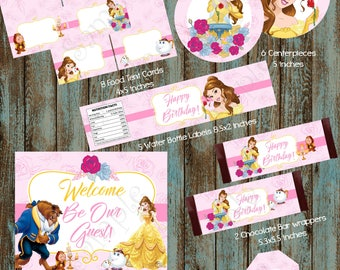 Belle Party Package, Beauty and the Beast Party Package, Belle Printable Party Package, Belle party, Princess Belle Birthday Party Package
