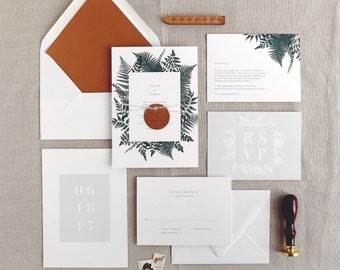 Celine Wedding Invitation & Correspondence Set / Illustrated Botanical Ferns and Foliage / Sample Invitation Set