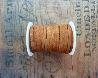 Suede Leather Cord 3mm Wide Rust Suede Cording Leather Cord Bulk Spool Leather Cord (1 Spool) Rust