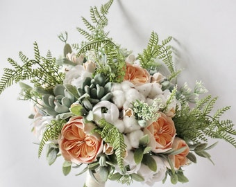 Alternative Wedding bouquet Keepsake succulent bouquet Peach Bridal bouquet Clay bouquet Garden Boho bouquet Bohemian Statement bouquet