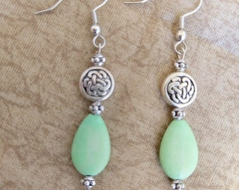 Pale Green Magnesite Dangle Earrings with Silver Accents