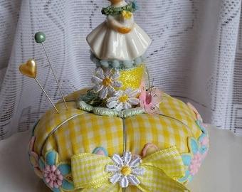 Vintage Enesco Girl Figurine Yellow Gingham Pin Cushion