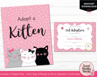 Cat Party Favors...Kitten Adoption Sign and Certificate...Kitten Party Sign...Cat Adoption Party Favors Sign...Printables...Cat Party Print