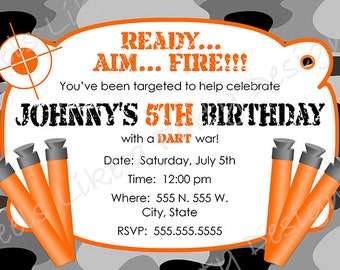 Custom Dart Gun Camouflage Birthday Invitation