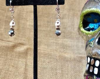 White Stone Skull and White Howlite Earrings