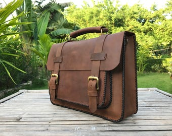 """Messenger Bag // Leather Laptop Bag // Leather Messenger Bag // Handmade Leather Bag // 13"""" Macbook Leather Bag // 13"""" Macbook Bag"""