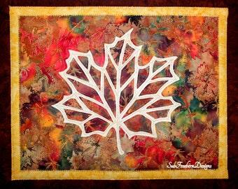 Maple Leaf Silhouette Art Quilt Pattern INSTANT DOWNLOAD