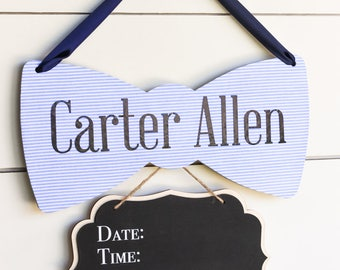 NEW Custom Baby Announcement Sign, Bow Tie Baby Shower Decor, Baby Boy Hospital Door Hanger, Bowtie Baby Name Sign, Gender Reveal Sign
