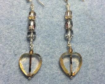 Tan and gray Czech glass heart bead dangle earrings adorned with gray Czech glass beads.