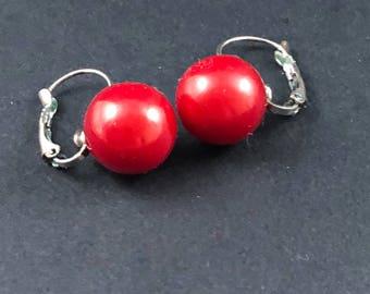 Vintage red drop earrings