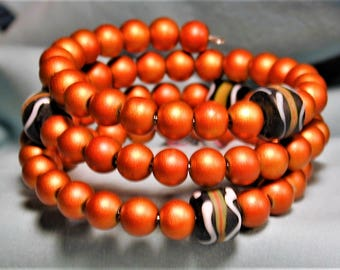 Copper Matte Glass & African Painted Trade Bead Wrap Bracelet OOAK