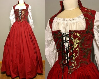 Red Renaissance RenFaire Dress Gown