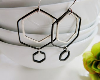 Silver and Black Hexagon Earrings, Geometric Earrings, Modern Minimalist Earrings, Everyday Jewelry, Redpeonycreations
