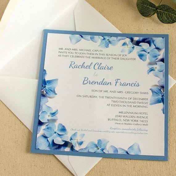 Hydrangea wedding invitation blue hydrangea wedding stopboris Image collections