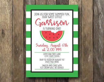 Watermelon Birthday Party Invitation - Printable Birthday Invite