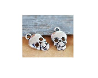 set of 5 (C61) silver tone skull charms