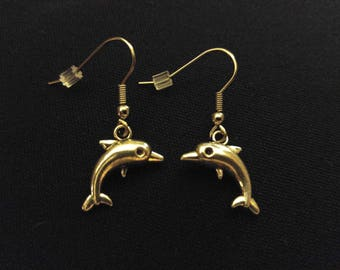 DOLPHIN Ocean Charm Earrings Stainless Steel Ear Wire Silver Metal Unique Gift
