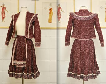 1970's/80's Burgundy GUNNE SAX Jacket and Skirt Set / Gunne Sax by Jessica / Victorian Suit / Peasant Suit / Rare Collectable Retro