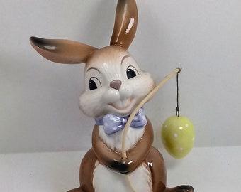 Goebel Porcelain Rabbit fisherman cm 13 x 10
