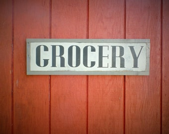 Grocery Wood Sign Kitchen Wooden Sign Grocery Word Art Hand Painted Word Art Grocery Wooden Sign 25 x 7