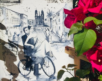 Roman Holiday Original Watercolor Painting, Italy Romantic Travel Illustration by Lana Moes, Wanderlust, Romantic Bliss, Vacation Mementos