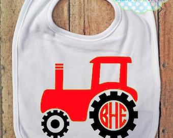 Tractor Circle Monogram Bib - Bib - Personalized - Farm