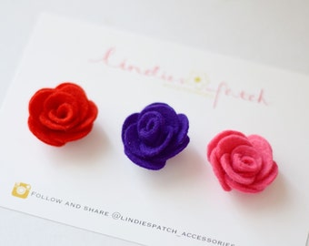Flower lapel pin set of 3: red, pink, purple lapel pins for gentlemen -felt flower lapel pin- gift ideas for him/ suit and tie accessories
