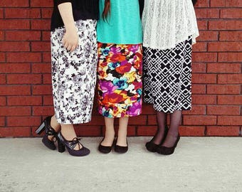 VictoriasBliss~ Girl's MODEST Knit Pencil Skirt ~ Modest Skirt, Girls Skirt, Knit Skirts, Modest Clothing ~ Made to order