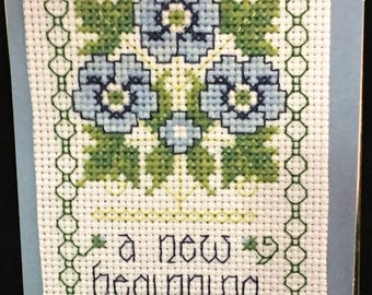 "COUNTED CROSS STITCH  Card -  Blank with Matching Envelope 3.75"" x 4.8"""