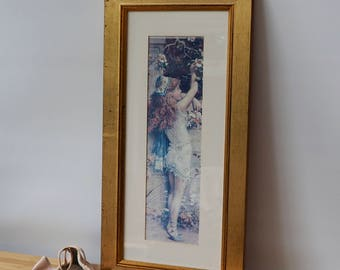 A lovely Vintage Picture in Frame Vintage Girl Print Retro  boho Old Pictures Vintage Pictures.Old Frames Old Prints Vintage Prints