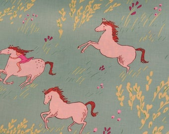 Fabric Miller cotton green background pattern young girl on horse