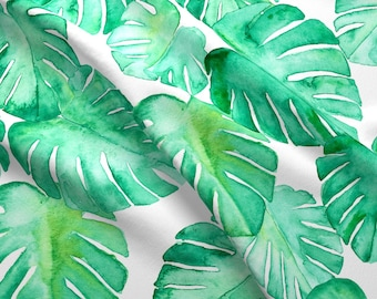 Watercolor Monstera Fabric - Watercolor Monstera Leaf By Littlearrowdesign - Watercolor Botanical Cotton Fabric By The Yard With Spoonflower