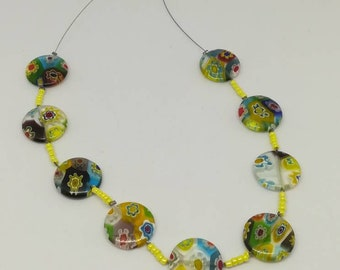 Murano style glass beaded necklace