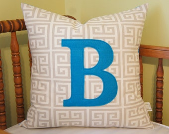 Monogrammed pillow cover, 20x20, any letter/colour available