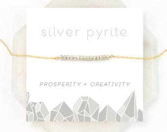 Dainty Everyday Silver Pyrite Necklace, Modern Minimal Choker, Inspirational Prosperity Stone, Layering Necklace, Silver Bar Necklace