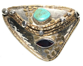 Margaret Ellis Handcrafted Artisan Turquoise Sterling Brooch