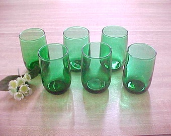 1950s Anchor Hocking Forest Green Juice Glasses, Roly Poly Flat Juice Tumblers, Green Mid Century Kitchen Glassware, Vintage Collectible