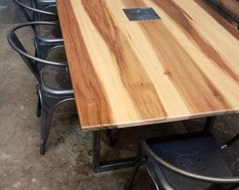 minimalist modern industrial office desk dining. Minimalist Modern Conference And Dining Table // Metal Bases Sun Tanned Poplar Industrial Office Desk