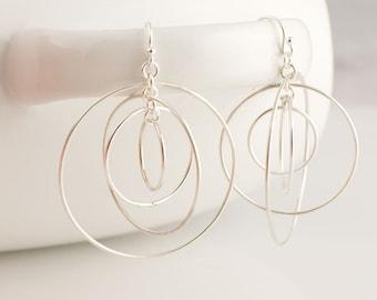 Large Satellite Circle Hoops Sterling Silver Earrings Forged