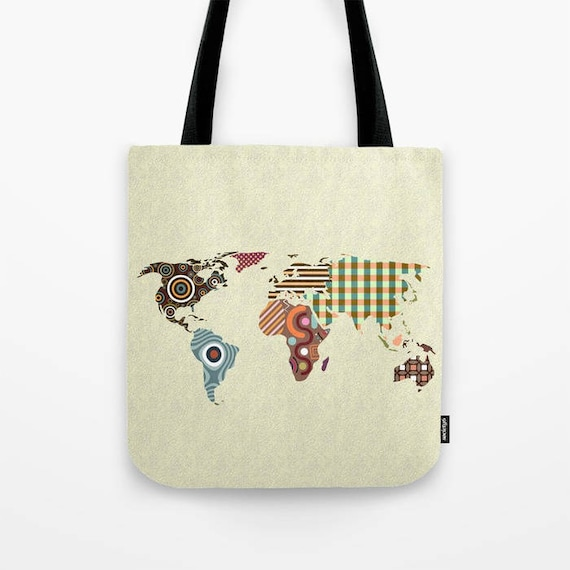 Tote bagsbackpacks lanre studio world map tote bag world map gift world map print bag world map gumiabroncs Choice Image