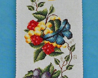 Cross Stitch Pattern | Pamela Kellogg FRUIT & BUTTERFLIES BELLPULL Bell Pull - Counted Cross Stitch Pattern Chart - fam