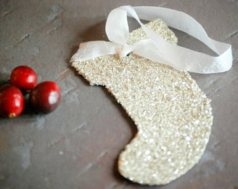 Ornament Stocking Favor Gift Tag Silver German Glass Glitter Teacher Gift Hostess Gift Ornament Exchange Party