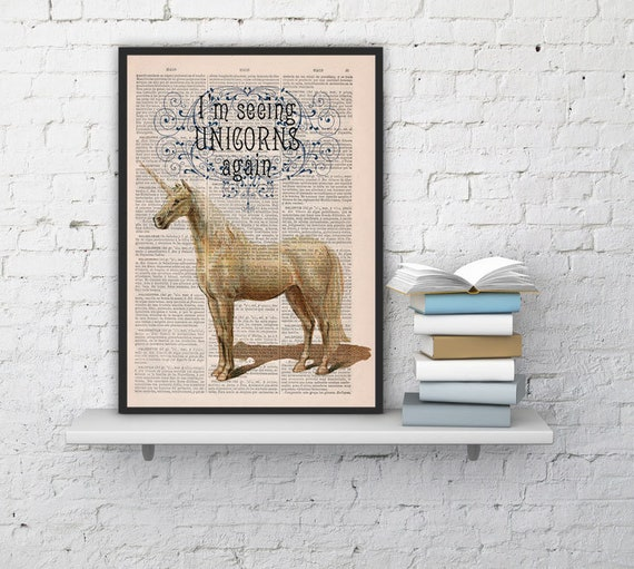 Fabulous Unicorn Printed on Vintage Book sheet - Wall art home decor, gift for her,unicorn geek art ANI212b